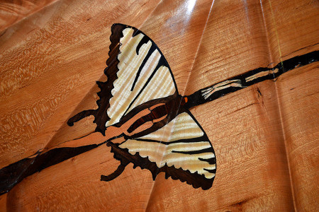 "2"" solid Ebony and Tiger Maple for Tiger Swallowtail butterflies. To hold the check in check."