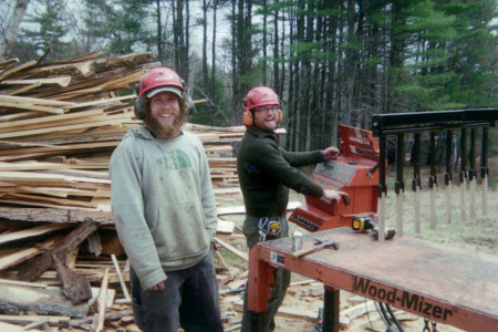 Jory and Furry, custom milling a special log.