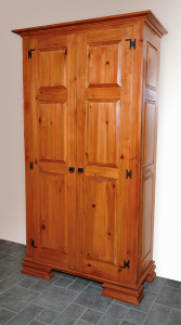 Armoire, wardrobe, coat closet, call it what you will. Mostly this was an exercise and experiment in using color to achieve the most out of plain white pine.