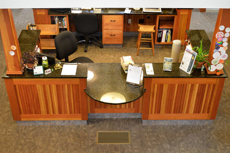 Custom designed work stations and displays designed to increase productivity and traffic flow.