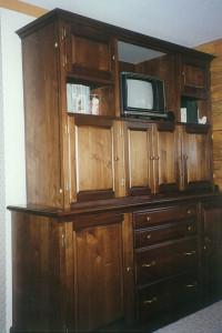 Bedroom bureau in black walnut, ebony, and ivory.