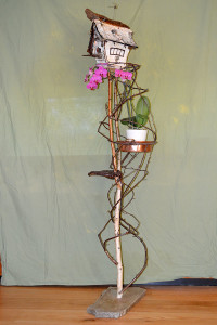 Woodland Cottage on large stand with secondary plant shelf and artist lichen - $890