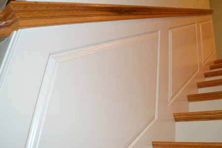 Oak stairway with Wainscot.