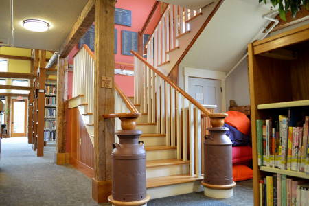 Stairways for professional or commercial applications. Not just whimsical, milk can 'moo'wel posts make these stairs ADA compliant.	Research & design by Tamarack Construction.
